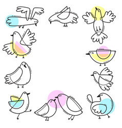 card with abstract birds a frame of gulls simple vector image vector image