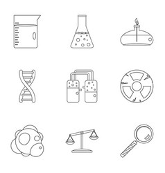 chemical icon set outline style vector image