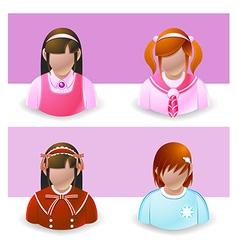 People Icons Girl and Teenage vector image