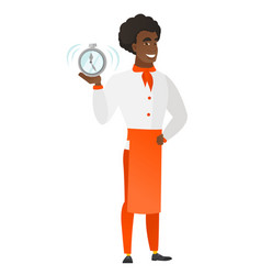 african-american chef cook holding alarm clock vector image vector image