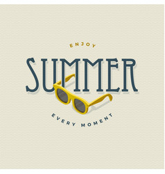 summer vintage sign with sunglasses vector image