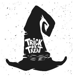 trick or treat witch hat with lettering halloween vector image vector image