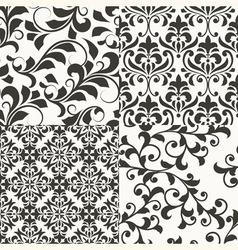 4 seamless vintage floral patterns vector image vector image