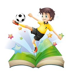 An open book with an image of a football player vector image vector image