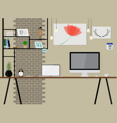 interior in loft space with vintage brick wall vector image