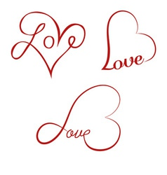 Love calligraphy hearts vector image