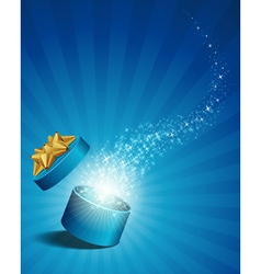 open explore gift with fly stars vector image vector image