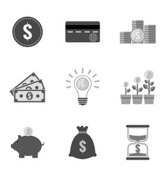 set of money icons and symbols in trendy flat vector image vector image