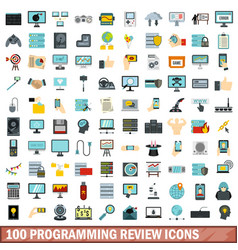 100 programming review icons set flat style vector image vector image