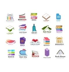 Book logo template set Back to school vector image vector image