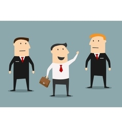 Businessman with bodyguards on meeting vector image vector image