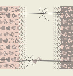 cute lace frame with different hearts vector image
