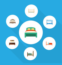flat bedroom set of bunk bed bed mattress and vector image vector image