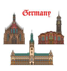 german travel landmarks icon of church city hall vector image