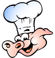 Hand-drawn of an Chef Pig Head vector image vector image