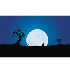Scenery zombie and tomb silhouette with moon vector