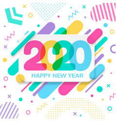 2020 happy new year greeting card with abstract vector image