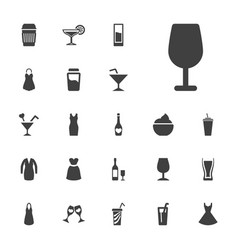 22 cocktail icons vector