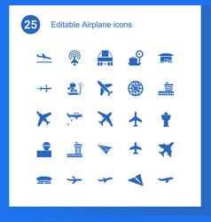 25 airplane icons vector
