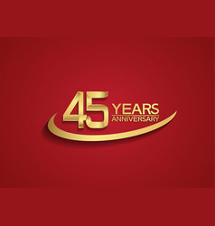 45 years anniversary logo style with swoosh vector