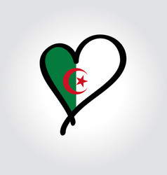 Algerian flag heart-shaped hand drawn logo vector