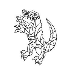 Alligator prancing mosaic black and white vector