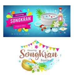 Amazing thailand songkran festival banner set vector