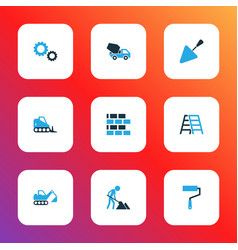 Architecture icons colored set with stepladder vector