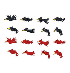 Black and red crows game sprites vector