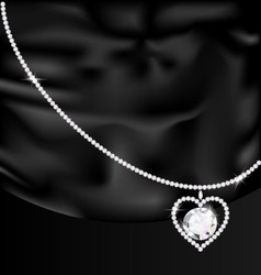 black silk and jewel heart vector image vector image