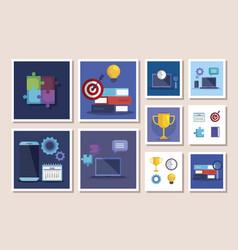 Bundle business set icons vector