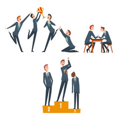 business competition businessmen competing among vector image