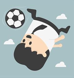 Business man kicking footballeps vector image