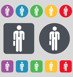 Businessman Icon sign A set of 12 colored buttons vector image