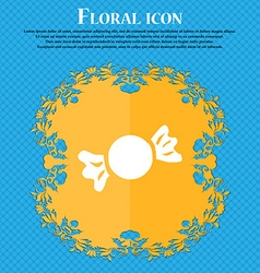 Candy icon sign floral flat design on a blue vector