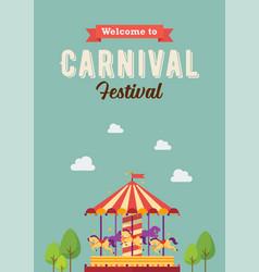 carnival festival colorful carousel vector image