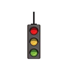 Cartoon hanging traffic semaphore with three vector