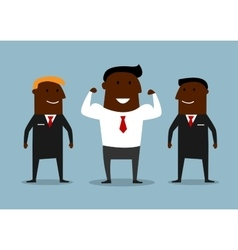 Cartoon happy businessman with bodyguards vector image