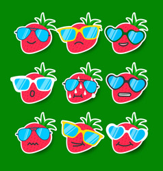 Cartoon strawberry emojis with sunglasses vector
