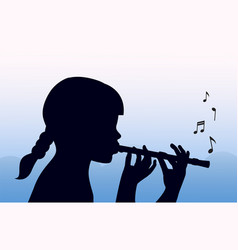child plays pipe vector image