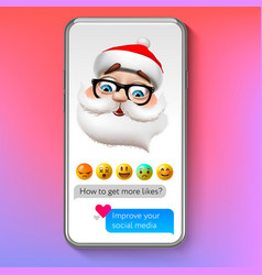 christmas emoji santa claus holiday smile face vector image