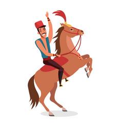 Circus horse rider flat vector