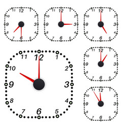 Clock square shape clock face with different time vector