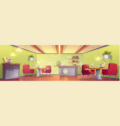 Coffee house or cafe interior with cashier desk vector