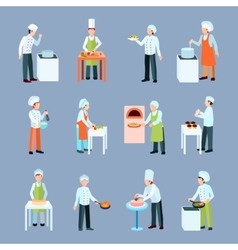 Cook Profession Icons Set vector