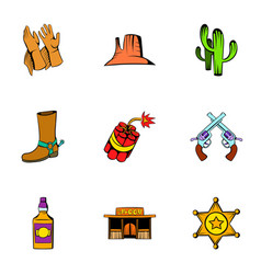 Cowboy icons set cartoon style vector