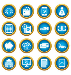 credit icons blue circle set vector image
