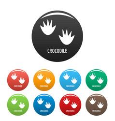 Crocodile step icons set color vector