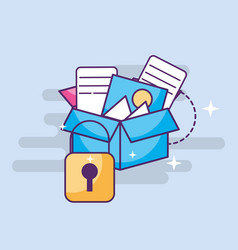 Cyber security storage box with files vector