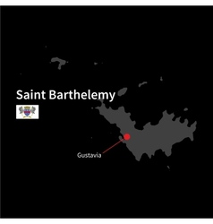Detailed map of Saint Barthelemy and capital city vector image vector image